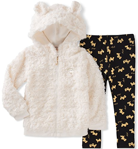 Juicy Couture Little Girls' Faux Fur Jacket Pant Sets, Egret/Black Pool/Gold, 5 by Juicy Couture