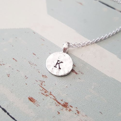 (Personalized Sterling Silver Hammered Disc Circle Letter