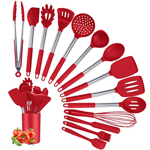 Silicone Cooking Utensil Set, Kitchen Utensils 15Pcs Cooking Utensils Set, Non-stick Heat Resistant Silicone Cookware…