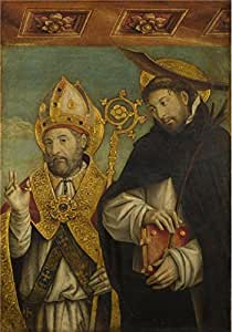 Oil painting 'Giovanni Martino Spanzotti-Saint Peter Martyr and a Bishop Saint,1496-1500' printing on Linen Canvas , 24x34 inch / 61x87 cm ,the best Home Office artwork and Home decoration and Gifts is this Cheap but High quality Art Decorative Art Decorative Canvas Prints