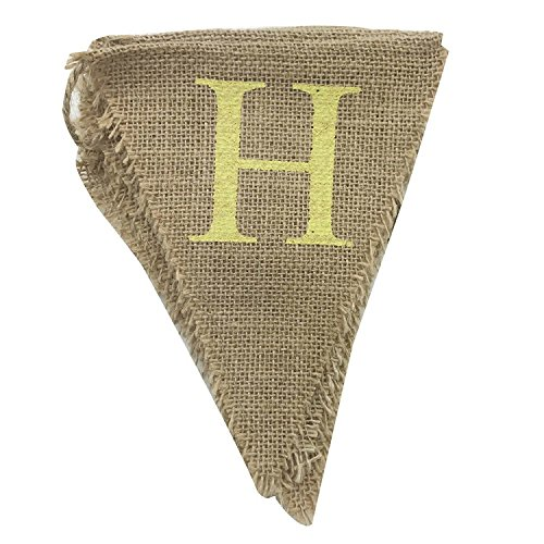AmaJOY Rustic Burlap Happy Birthday Banner Birthday Party Decoration Bunting Banners -13pcs Triangle Flags with Printed Color (Burlap Happy Birthday Banner)
