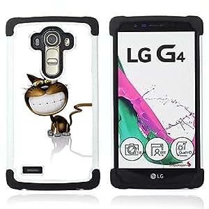 For LG G4 H815 H810 F500L - Cat Cartoon Comic Big Smile White Teeth Art /[Hybrid 3 en 1 Impacto resistente a prueba de golpes de protecci????n] de silicona y pl????stico Def/ - Super Marley Shop -