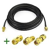 Superbat RF coaxial SMA Male to SMA Female Bulkhead RG174 15ft Cable + 3pcs RF Coax SMA Adapter Kit for SDR Equipment Antenna Ham radio