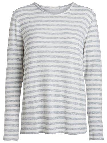 Pieces Marianne Damen Langarm-Shirt mit Streifen | Pulli gestreift Marine | Vintage Used Look Pullover lange Ärmel (34 (Herstellergröße: XS), Cloud Dancer)