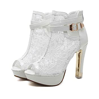 Women's Pretty Lace Flowers Open Toes High Heels Ankle Boots 5LX-828-19