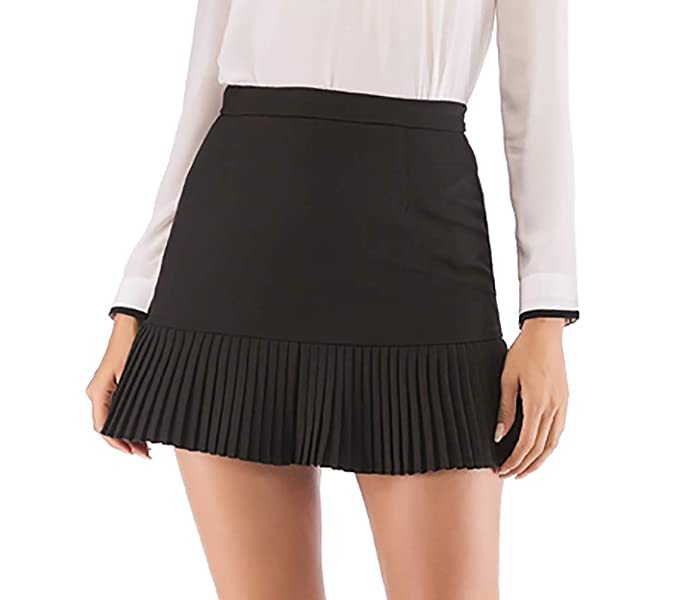 e9203ca8b Hanlolo Teengirls School Mini Skirts High Waisted Ruffle Hem Flared A Line  Black 2