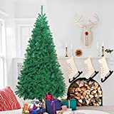Christmas Tree Artificial Premium Spruce Hinged Xmas Tree with Metal Stand for Indoors&Outdoors(4ft)