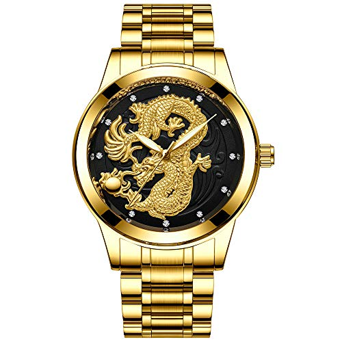 - Mens Watches Dragon - Gold Wrist Luxury Men's Stainless Steel Band