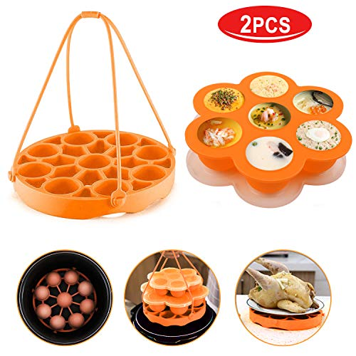 (Pressure Cooker Sling[Upgrade Version]Silicone Bakeware Sling for Instapot 6 Qt/8 Qt,Silicone Steamer with Handles Compatible with Other Brand Multi-Function Cookers (Orange))
