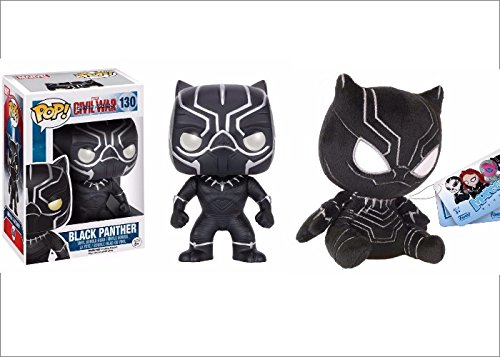 3 item BLACK PANTHER Bundle, Exclusive #130 Black Panther Vinyl Bobblehead by Funko and Funko MOPEEZ Black Panther PLUSH and with a BATMAN Bat Signal KeyRing