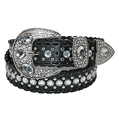 CTM Women's Western Belt with Rhinestones and Studs