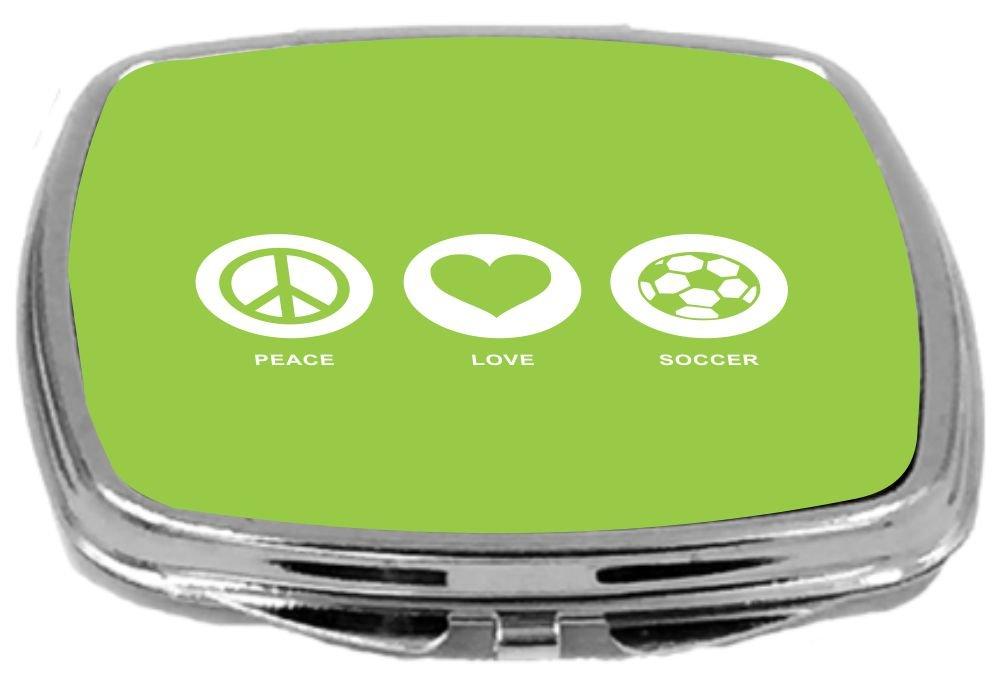 2 Ounce Lime Green Rikki Knight Peace Love Soccer Design Compact Mirror