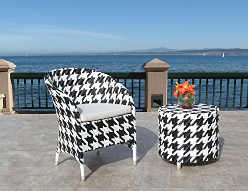 Outdoor Black & White Houndtooth Resin Wicker Chair and Side Table 2PC Set price