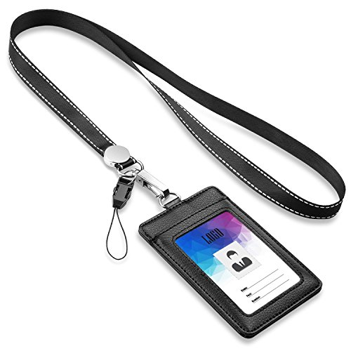 """Badge Holder,FZR Legend 2-Sided PU Leather ID Card Badge Holder with 1 ID Window, 1 Card Slot and 1 piece 21"""" Heavy Duty Lanyard / Strap,Vertical Style - Black"""