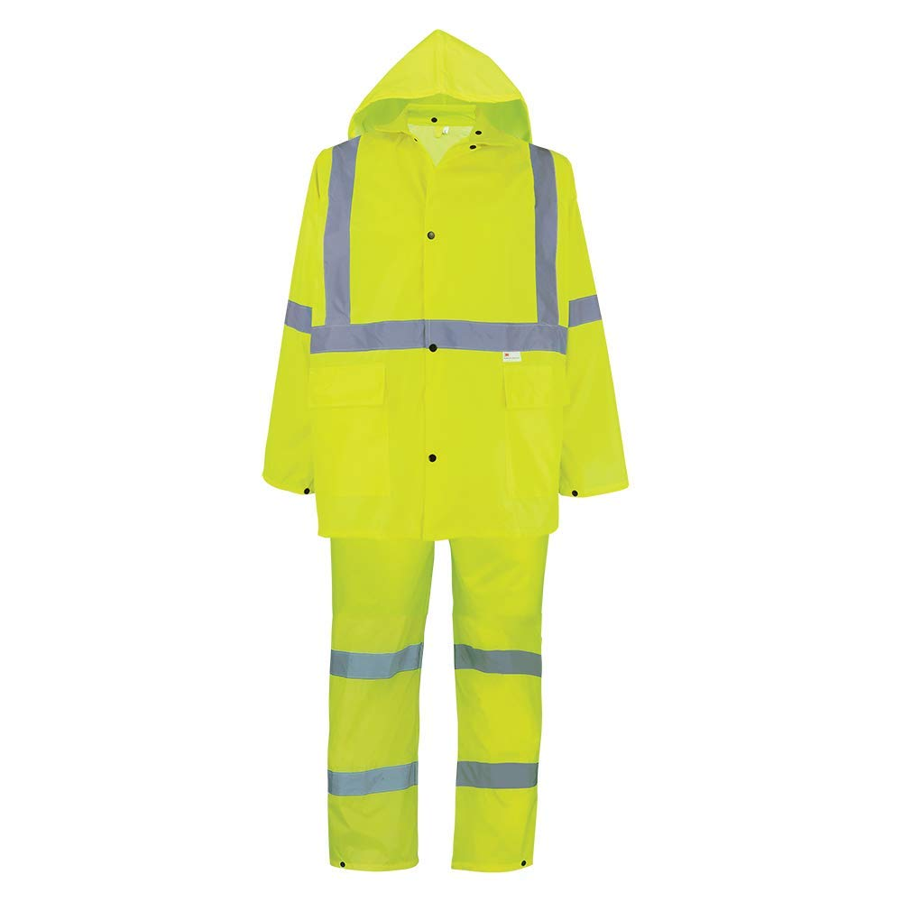 Global Glove GLO-8000 - FrogWear HV - 3-Piece High-Visibility Rain Suit - X-Large