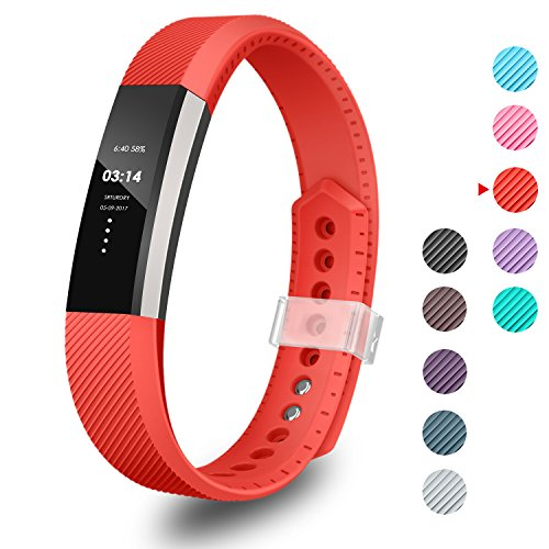 GreenInsync Bands for Fitbit Alta,Replacement for Fitbit Alta Bands Large Size with Ultrathin Fastener for Fitbit Alta/Fitbit Alta HR/Fitbit Ace Sport Arm Band No Tracker(Red)