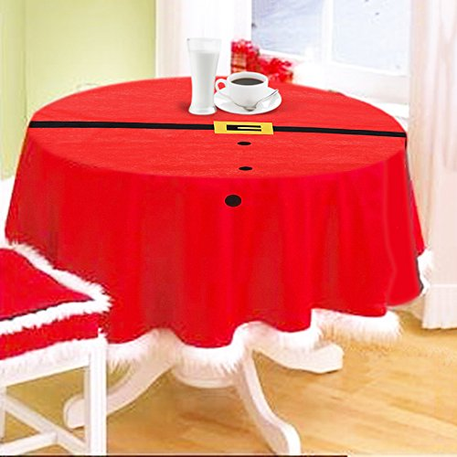 Festnight 57in Round Christmas Tablecloth Red Table Cover...