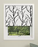 DEBEL Blackout Roller Blind, Tree with Aluminium Bottom bar, Fabric Black/White, 60 x 175 cm