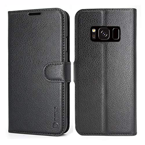 誇大妄想家畜どういたしましてSamsung Galaxy S8 ケース 手帳型 Galaxy S8 ケース黒い Dekii 耐衝撃 シンプル スマホカバー 財布型 ケース カード収納 スタンド機能 Qi充電対応 (ギャラクシーS8 専用)