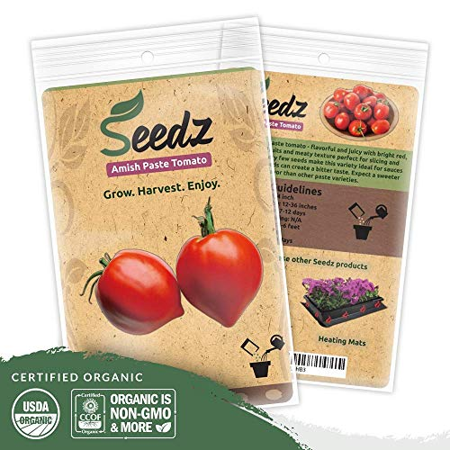 Organic Tomato Seeds (APPR. 75) Amish Paste Tomato - Heirloom Vegetable Seeds - Certified Organic, Non-GMO, Non Hybrid - USA