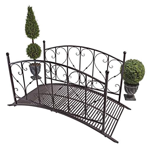 - Genevra- Wooden Bridges for Yard-Adding Instant Charm to Your Garden-Color Black Steel Scrolled Hearts Arch