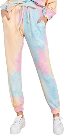 Sysea Women S Tie Dye Sweatpants Drawstring Active Workout Lounge Jogger Pants With Pocket At Amazon Women S Clothing Store