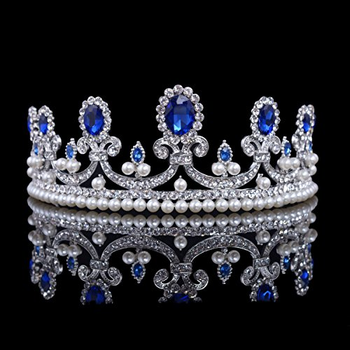 (Casualfashion Casualfashion French Royal Queen Crown Baroque Vintage Rhinestone Tiara with Pearls Hair Jewelry (Blue))