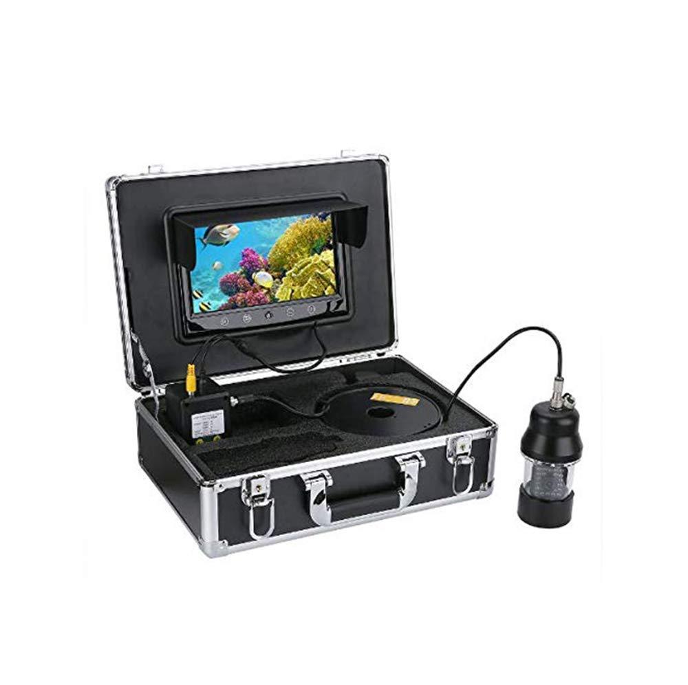 GJR-OUT 100M Pesca submarina cámara de vídeo, buscador de Peces de 9 Pulgadas de Pantalla a Color Impermeable 22 Leds de 360 Grados de la cámara giratoria: ...