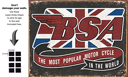 Shop72 - BSA - Most Popular Motocycle Tin Sign Bikes Tin Sign Retro Vintage Distrssed - With Sticky Stripes No Damage to Walls