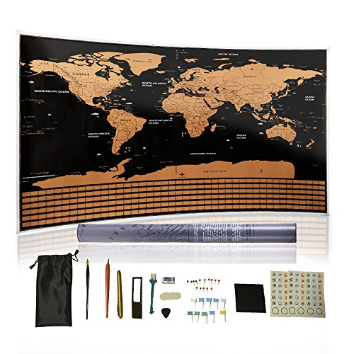 Scratch Off World Map For Tourist-Includes 13 Kinds Of Accessories,Travel World Map With US States Outlined And Country Flags,Track Your Adventures With Lover.Valentine's Day Gift For - Maps Flagship