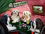 Home of Havanese 4 Dogs Playing Poker Art Portrait Print Woven Throw Sherpa Plush Fleece Blanket (37x57 Sherpa)