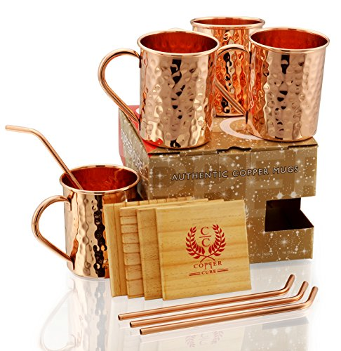 Moscow Mule Copper Mugs - Set of 4 - Premium Quality Gift Set – 100% HANDCRAFTED - Food Safe Pure Solid Copper Mugs 16 oz Hammered with BONUS: Copper Straws and Coasters by Copper Cure