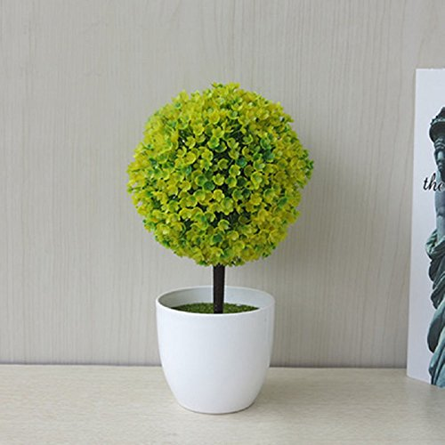 Mini Fake Planter Grass Ball Pot Bonsai Artificial Creative Home Garden Wedding (yellow-green)