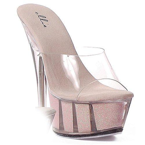 Ellie Shoes E-609-glitter Sandale Stiletto À 6 Pointes. Rose
