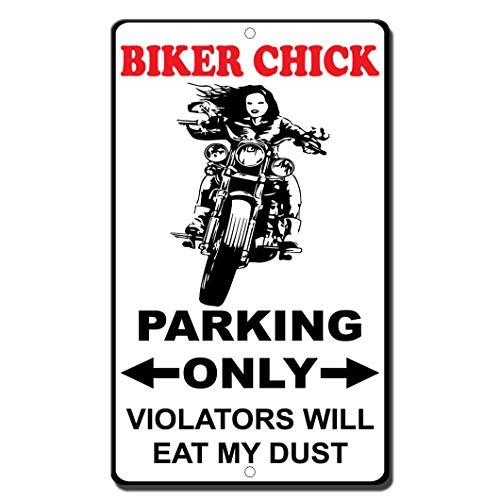 AllPrints ShopForAllYou Decor Signs Biker Chick Parking Only Violators Will Eat My Dust Style 2 Novelty Metal Sign 8x12