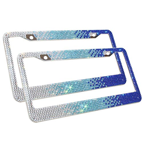 Carfond 7 Row Bling Bling Rhinestones Stainless Steel License Plate Frame with Big Small Stones Crossed Bonus Matching Screws Covers Gift (2 Pack ()