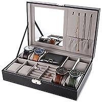 EleLight Black Jewelry Box 8 Slots Watch Organizer Storage Case