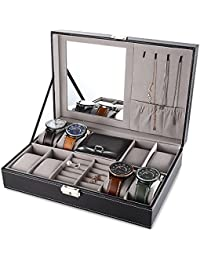 Black Jewelry Box 8 Slots Watch Organizer Storage Case with Lock and Mirror for Men Women