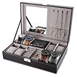 EleLight Multifunctional 8 Grids Watch Case Jewelry Box Organizer Storage Case with Lock and Mirror for Man Woman(Black)