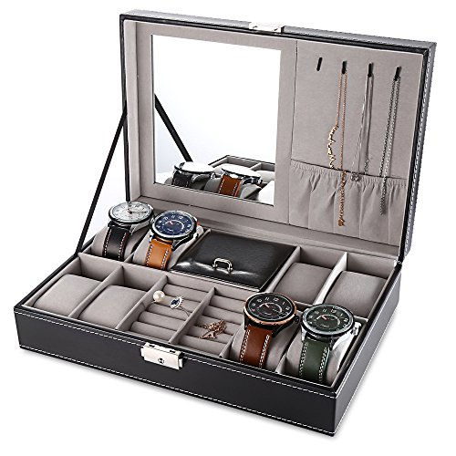 EleLight Multifunctional 8 Grids Watch Box Jewelry Box Organizer Storage Case with Lock and Mirror (Black)