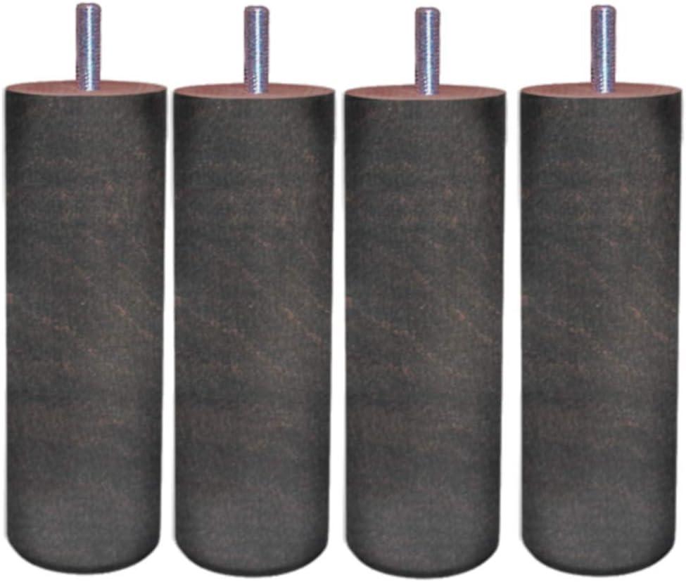 MARGOT 3700527818726 Cam/él/éon Cylindre Lot de 4 Pieds de lit Bois Weng/é Hauteur 20 cm