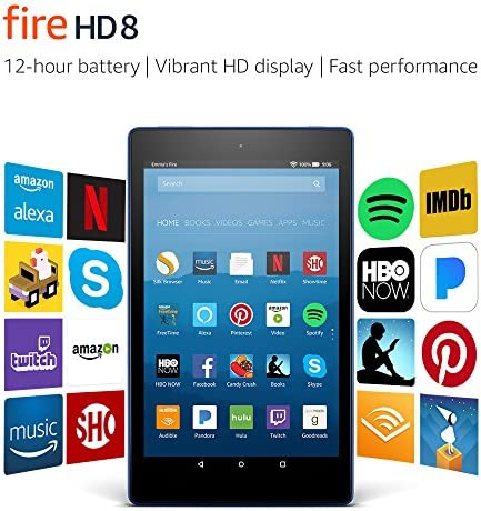 """Fire HD 8 Tablet with Alexa, 8"""" HD Display, 32 GB, Marine Blue - with Special Offers (Previous Generation – seventh)"""