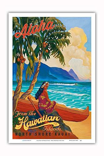 Pacifica Island Art - Aloha from The Hawaiian Islands - North Shore Kauai Hawaii - Vintage Hawaiian Travel Poster by Rick Sharp - Master Art Print - 12in x 18in
