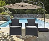 Do4U 2 Pcs Rattan Wicker Outdoor Dining Chairs | Patio, Backyard, Porch, Garden, Poolside | (Grey-630)