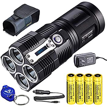 Chargeur NiteCore TM26 4000 lm Search Light avec 4x 3400 mAh 18650 adaptateur voiture
