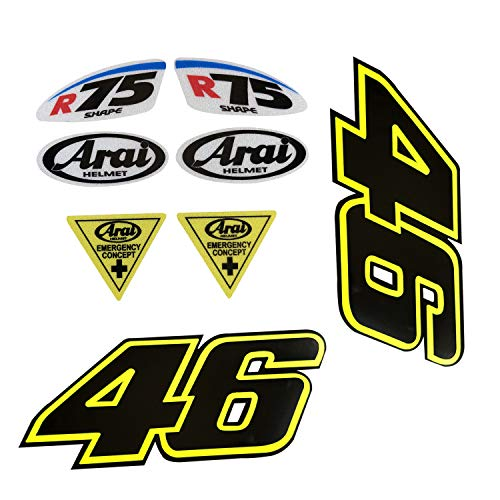 (LLAP Rossi 46 Motorcycle Decal Stickers for ARAI Helmet Reflective Vinyl Decal Weather Proof Sticker (8packs))