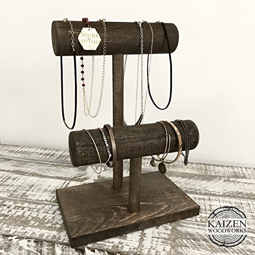 Jewelry Display Stand – Two Tier / Bracelet Watch Stand / Solid Wood T-Bar Display / Craft Show / Boutique Rustic Rack / Ring Tree