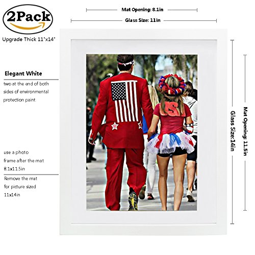 Picture Frame 2pack 11x14 inch White,Anti-Corrosion Wood Pho