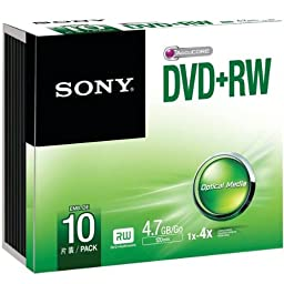 Sony 10Dpw47ss Dvd+Rws With Slim Jewel Case 10 Pk