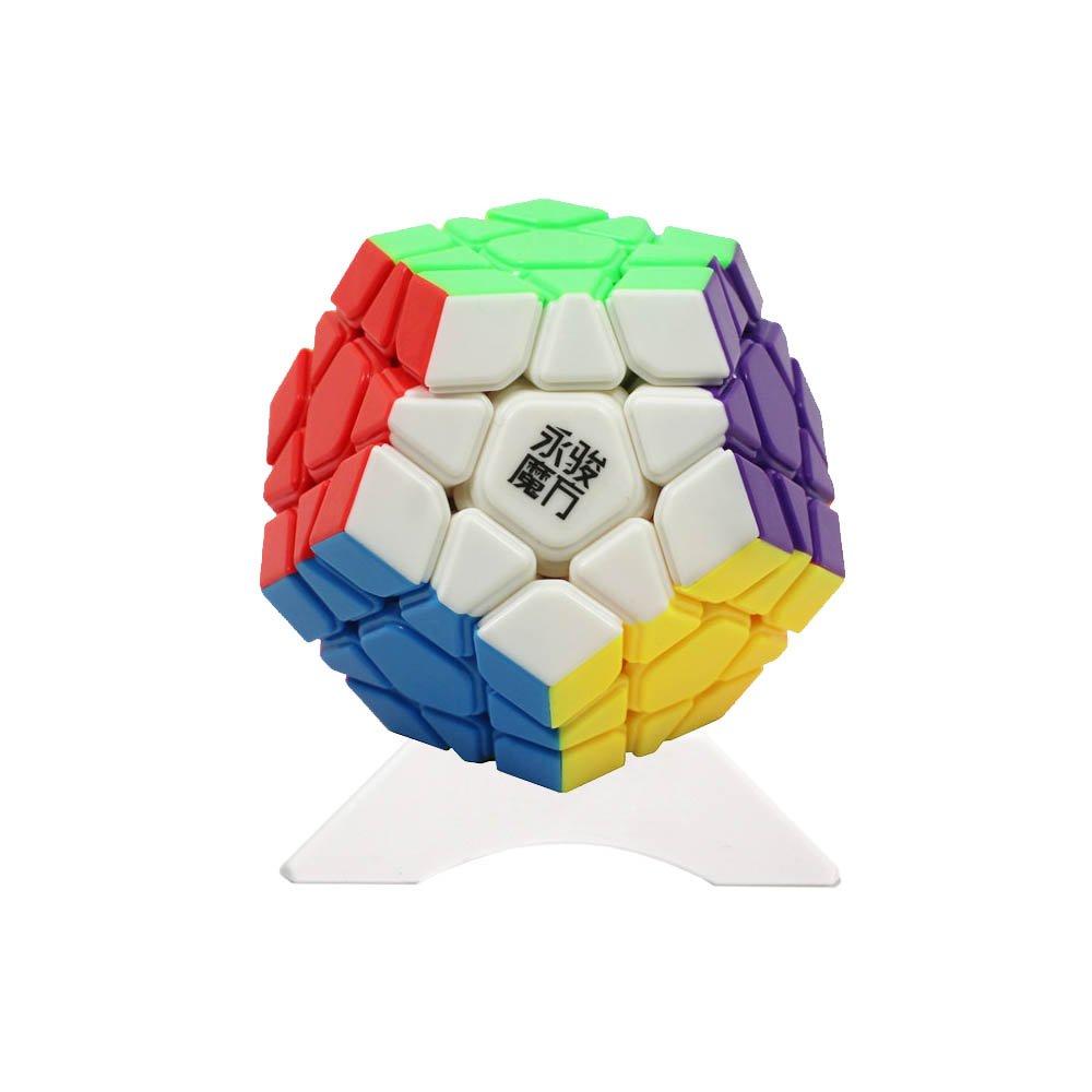 FunnyGoo YongJun YJ YuHu 12 superficie Megaminx Dodecaedro 3x3 Gigaminx megaminx Cubo, con soporte de un cubo (Color Stickerless)